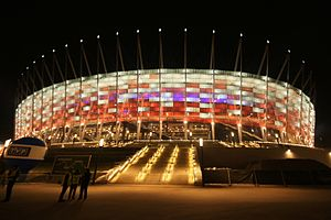 National Stadium, Warsaw - Night illumination of the stadium façade after opening match between Poland and Portugal on 29 February 2012
