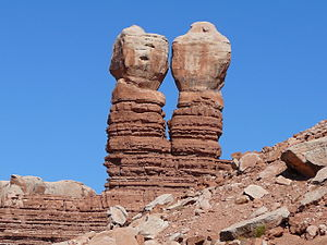 Bluff, Utah - The Navajo Twin Rocks, an attraction in Bluff, November 2007