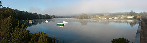 Clyde River (New South Wales) - Image: Nelligen, NSW Early Morning Mist, Panorama, 25.9.2008