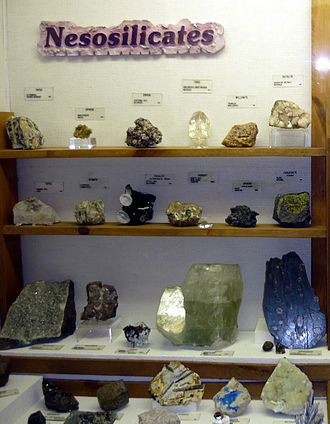 Silicate minerals - Nesosilicate specimens at the Museum of Geology in South Dakota