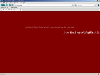 Netscape Navigator 9 - Screenshot of The Book of Mozilla, 8:20 in Netscape 9