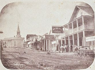 Nevada City, California - Nevada City c 1856 by Julia Ann Rudolph