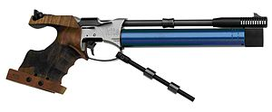 Air gun - An example of a Benelli Kite pre-charged pneumatic air pistol, as used in 10 metre air pistol ISSF shooting events