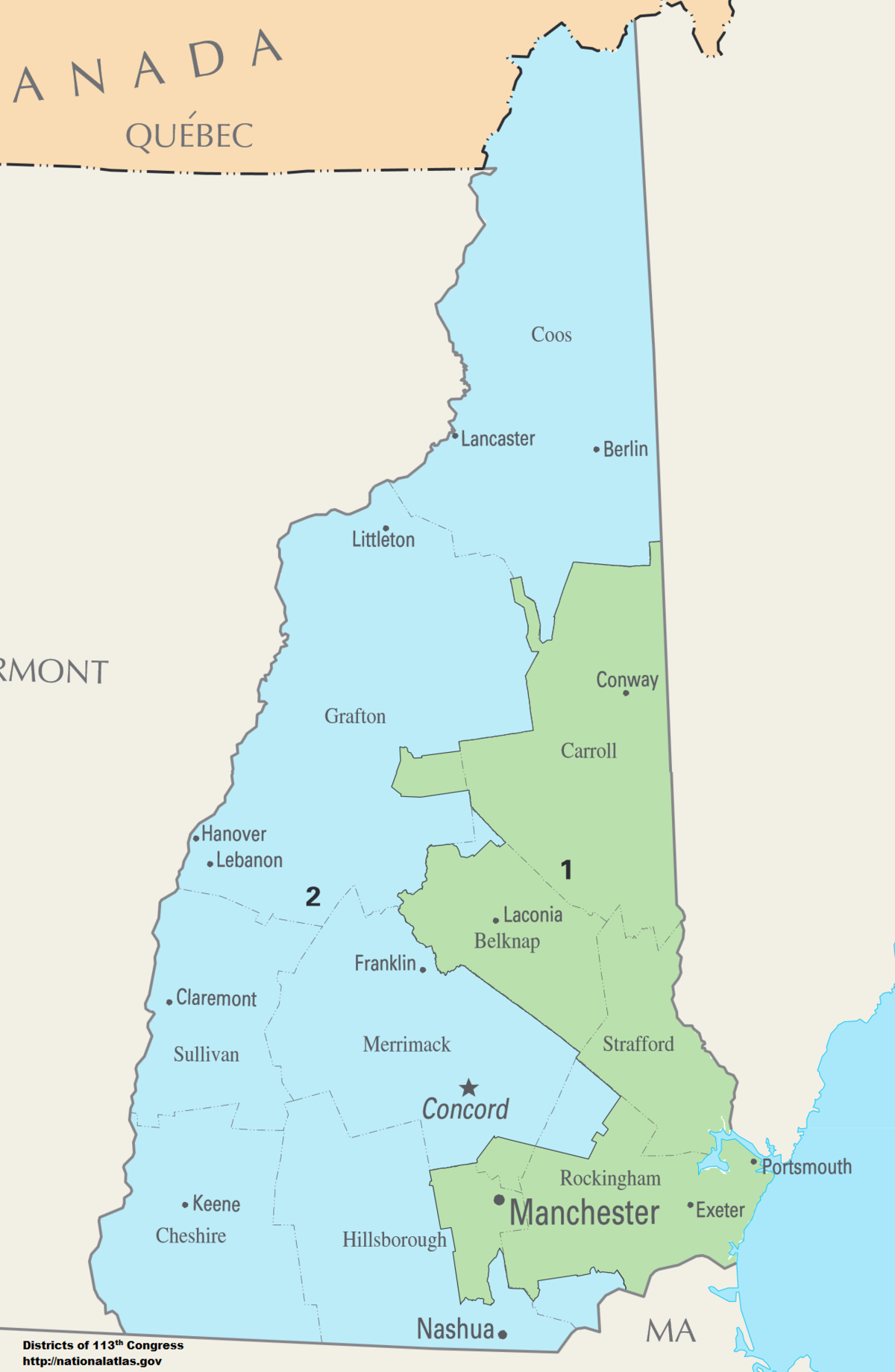 New Hampshires Congressional Districts Wikipedia - Berlin nh map