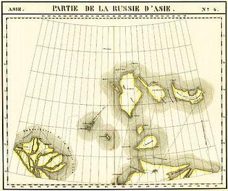 "New Siberian Islands - Map of the New Siberian Islands (Philippe Vandermaelen ""Map of the Asian Russia"", ca.1820). Bunge Land was not discovered yet so Faddeyevsky Island and Kotelny Island were considered separately."