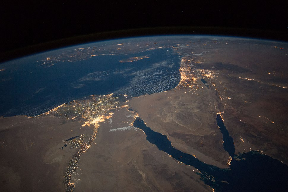 Nighttime View of Northern Egypt and the Sinai Peninsula