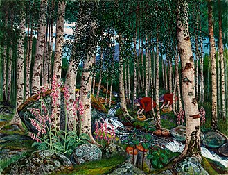 Now Only - Foxgloves (ca. 1915–1920) by Norwegian painter Nikolai Astrup