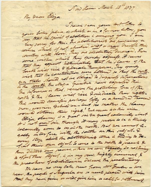 Noah Webster letter to Eliza Webster on abolitionism 1837
