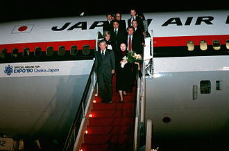 Noboru Takeshita - Takeshita and his wife disembarking from a Japan Airlines DC-10 at Andrews AFB during a US state visit