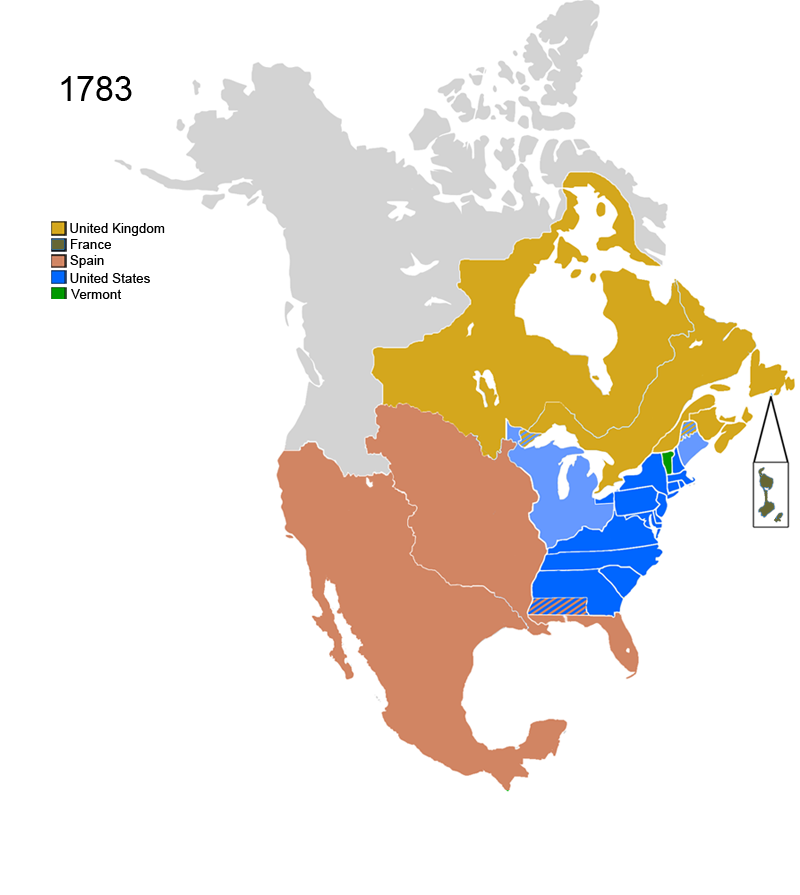 Non-Native American Nations Control over N America 1783
