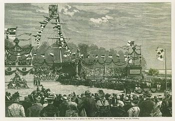 The laying of the foundation stone of the Kiel Canal by Kaiser Wilhelm II in Kiel Holtenau on June 3, 1887, wood engraving and magazine illustration by Fritz Stoltenberg