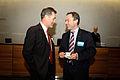 Nordiska radets direktor, Jan-Erik Enestam och Jan Bjorklund, Sveriges Utbildningsminister talas vid pa Nordiska radets session i Helsingfors 2008-10-28.jpg