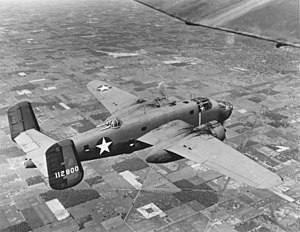 Twin tail - A twin-tailed B-25 Mitchell in flight