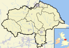 North Yorkshire outline map with UK