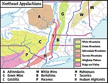 List Of Mountains Of New York Wikipedia - Us map with appalachian mountains