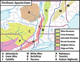 Taconic Mountains Wikipedia - Us map with appalachian mountains