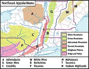White Mountains (New Hampshire) - Map of the main regions of the northeast Appalachians.