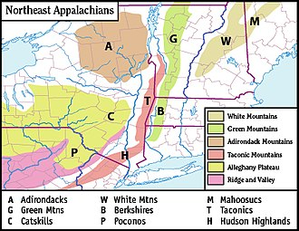 Green Mountains - Map of the main regions of the northern Appalachians
