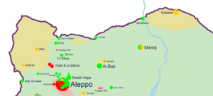 Combat operations in 2013 during the Battle of Aleppo - Map of the northern Aleppo Governorate at the beginning of January 2013