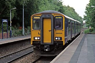Westhoughton railway station - A Northern Class 150, with a service to Wigan Wallgate in 2015