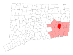 Location in New London County, کنیکٹیکٹ