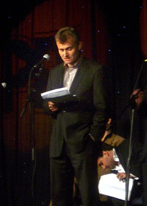Hugh Dennis - Dennis during a radio recording of The Now Show, 2008