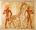 Nubians with a Giraffe and a Monkey, Tomb of Rekhmire MET 31.6.40 EGDP013027.jpg