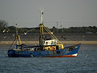 Cutter (boat) - Shrimpcutter off the coast of Ostend, Belgium