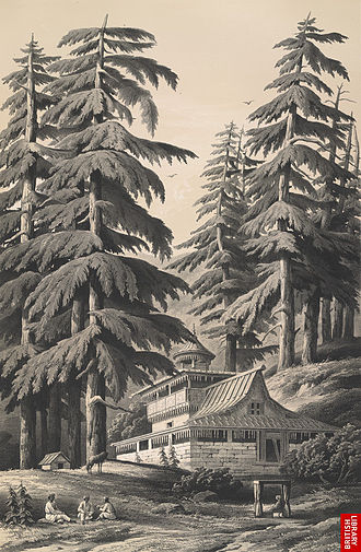 Shimla - 19th century sketch of the ancient Jakhoo temple