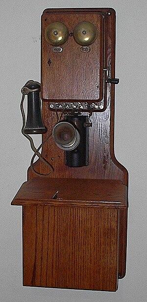 "Antique oak ""double phone"" from earl..."