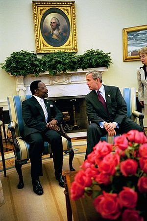 Omar Bongo - President Bongo meets with American President George W. Bush in May 2004.