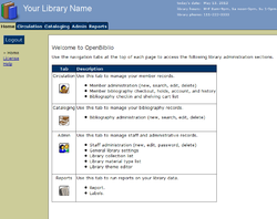Main screen of OpenBiblio