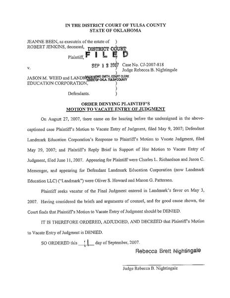 File:Order denying plaintiff's motion to vacate entry of ...