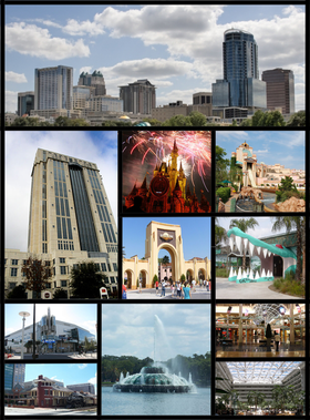 De haut en bas et de gauche à droite : Downtown Orlando, Château de Cendrillon, Amway Center, Citrus Bowl, fontaine du lac Eola, Orlando Bridge, Aéroport international d'Orlando.