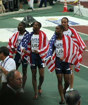 Darvis Patton - Patton (second left) after his 2007 World 4×100 m relay gold