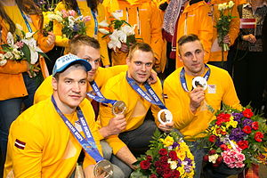 Latvia at the 2014 Winter Olympics - Latvians took home the silver medal in four-man bobsleigh.
