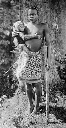 Ota Benga in 1906, purportedly at the Bronx Zoo.