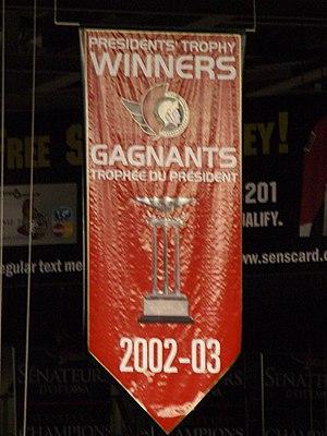 2002–03 Ottawa Senators season - Banner at Scotiabank Place