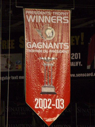 Presidents' Trophy - Ottawa Senators Presidents' Trophy Banner from the 2002–03 season