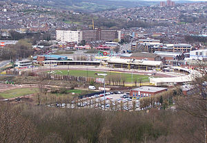 Aerial view of owlerton stadium from shirecliffe to the ne
