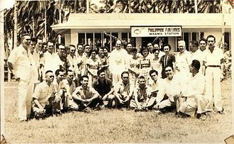 Labo Airport - Misamis Airfield(now Ozamiz Airport) with the persons involved in the airport. circa 1950's
