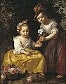 P.J. Moreelse - Portret van twee kinderen, een zittend, een staand rechts, in pastorale kleding, met bloemen - 10240 - Cultural Heritage Agency of the Netherlands Art Collection.jpg