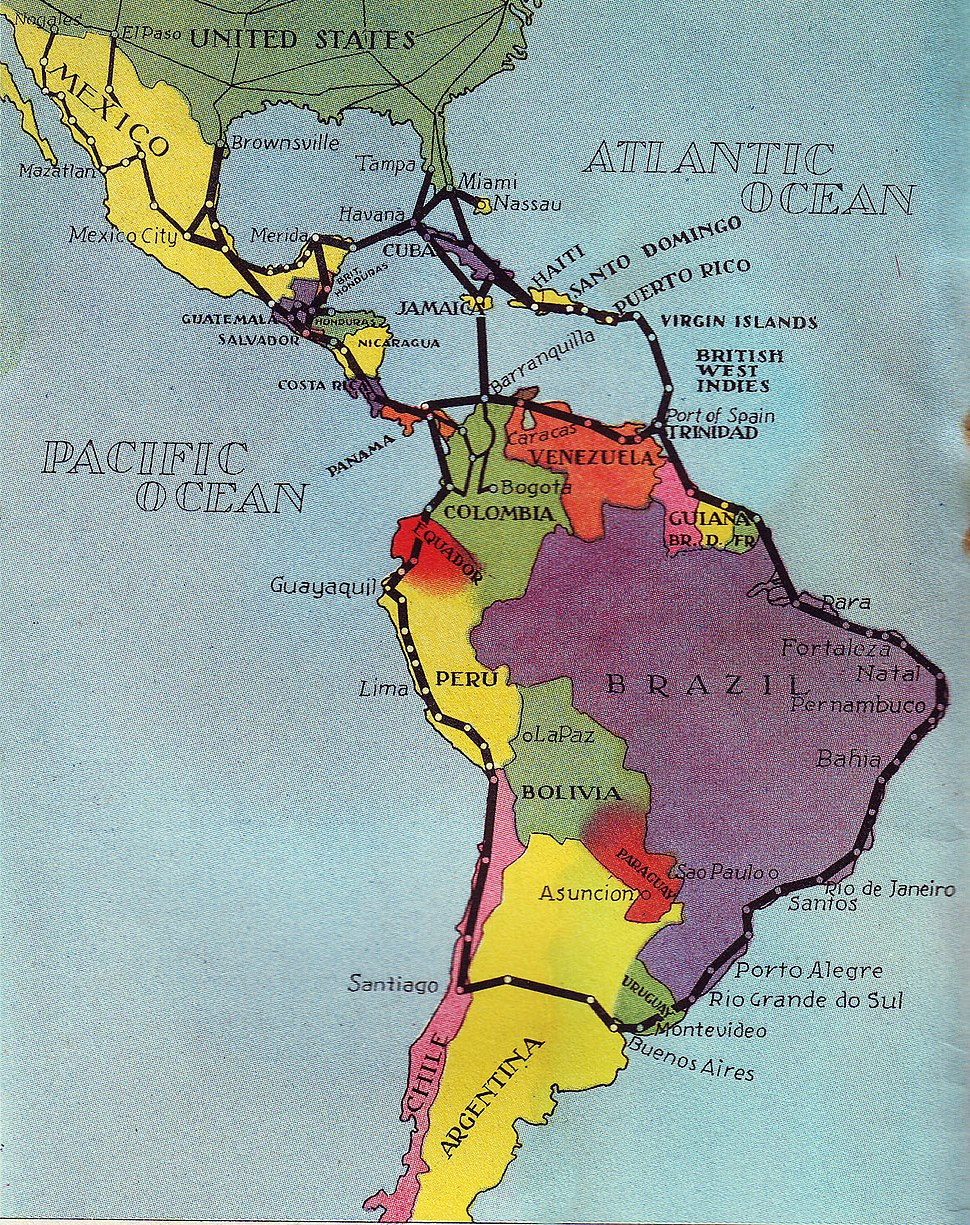 "PAA ""The Americas"" Route Map 1936"