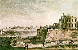 Zygmunt Vogel, Widok pałacu Ordynackiego i klasztoru św. Kazimierza, 1785