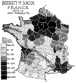 PSM V52 D493 Intensity of suicide in france 1872 1876.png