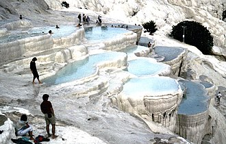 Limestone - Travertine limestone terraces of Pamukkale, Turkey.