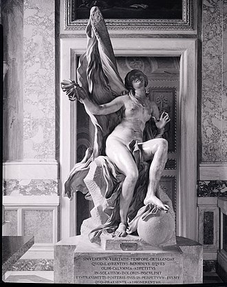 Baroque sculpture - Truth Unveiled by Time (1646-1652) by Gian Lorenzo Bernini, Galleria Borghese, Rome. Photo by Paolo Monti