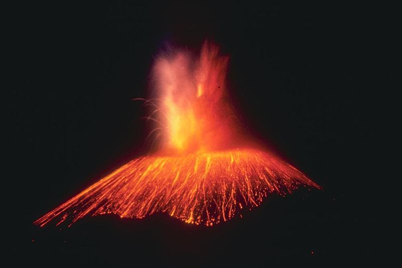 Paricutin, Mexico This slide taken in 1943 shows a spectacular view of an eruption of Paricutin at night. Glowing projectiles and pyroclastic fragments outline the conical shape of the volcano. The eruption consisted mostly of spheroidal bombs, lapilli, glassy cinder, and glassy ash formed by disintegration of the cinder. Image and caption courtesy USGS via Wikimedia Commons.