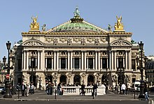 The Opera House in Paris is an ornate 19th century building decorated with much sculptured detail.