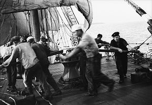 Sea shanty - Sailors working at a capstan